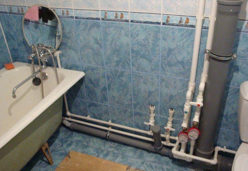 Разводка труб в ванной и туалете своими руками фото